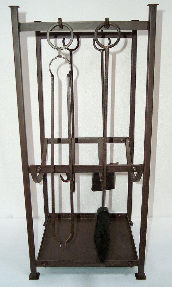 g1146 gro e kamin garnitur mit holzwanne kaminbesteck eisen 4 teile und st nder ebay. Black Bedroom Furniture Sets. Home Design Ideas