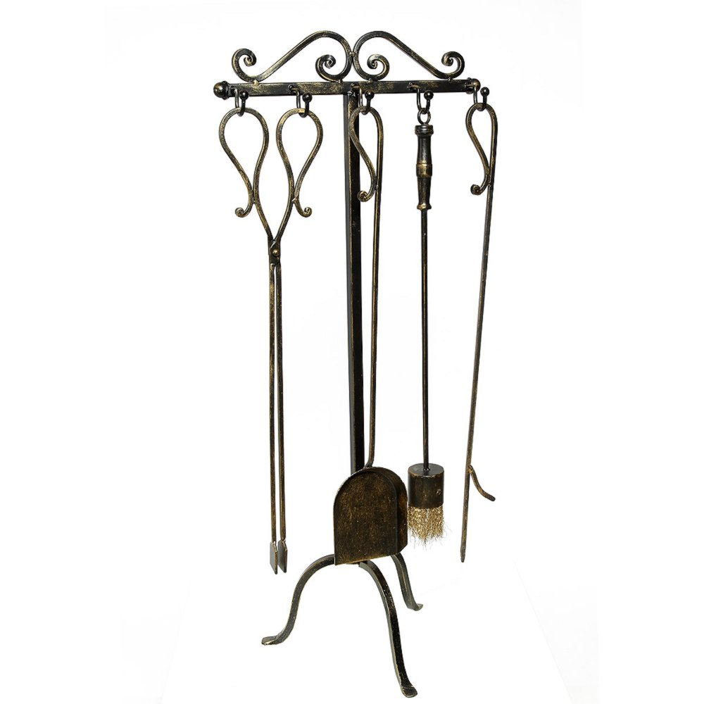 G1178 Rustic Chimney Set Fireplace Tool Set Fireside Set Iron 4 Pcs And Stand