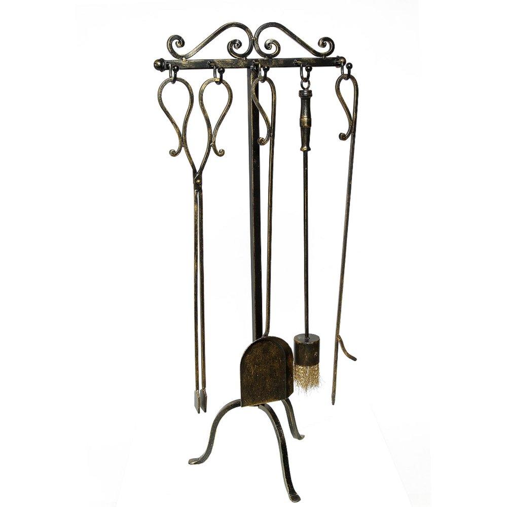 g1178 rustikale kamin garnitur kaminset kaminbesteck eisen 4 teile und st nder ebay. Black Bedroom Furniture Sets. Home Design Ideas