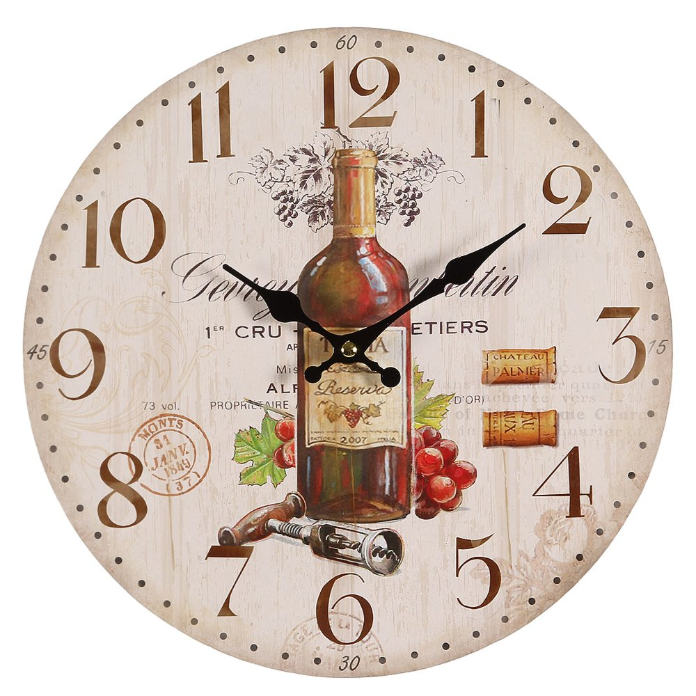 g1188 mediterranean wall clock with red wine motive. Black Bedroom Furniture Sets. Home Design Ideas