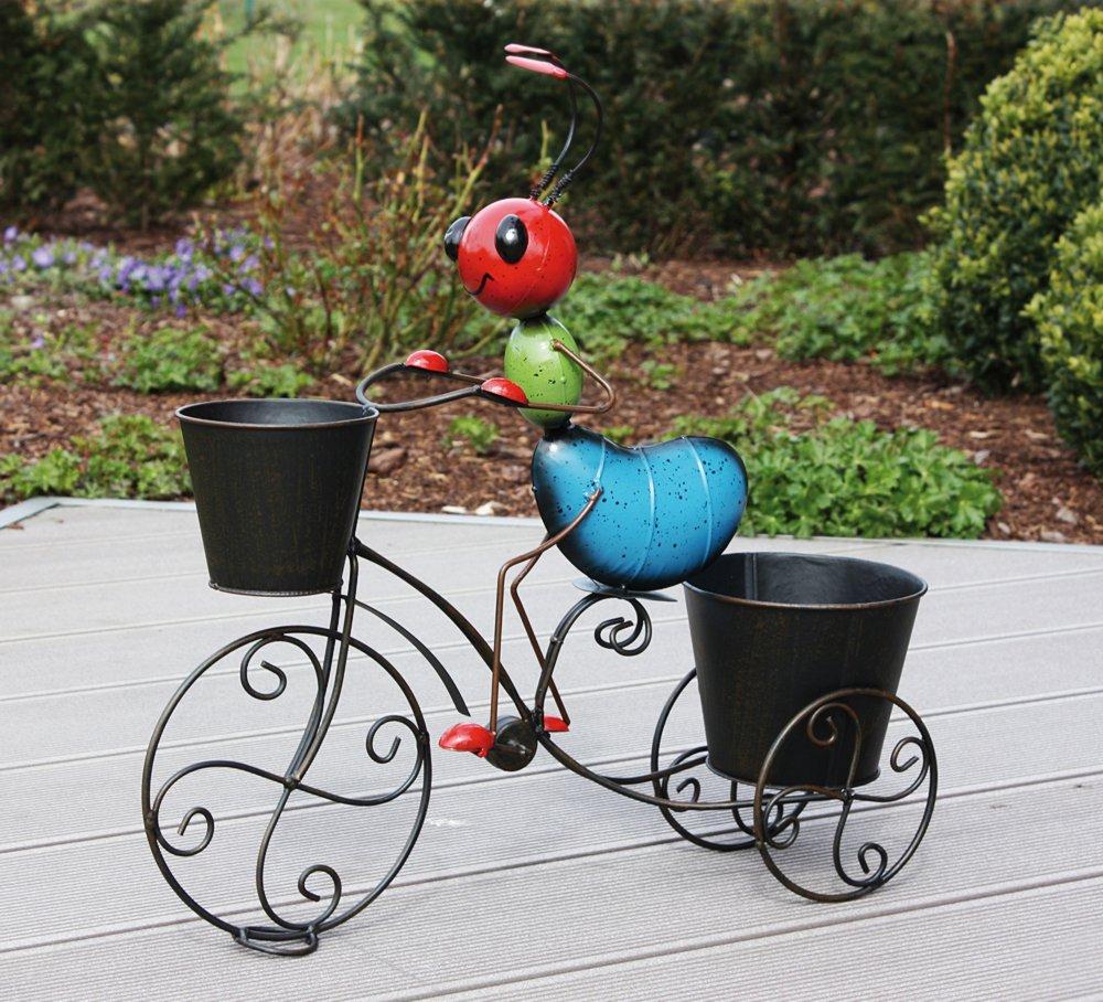 g2019 blumentopf halter ameise auf fahrrad gartenfigur mit zwei blument pfen ebay. Black Bedroom Furniture Sets. Home Design Ideas