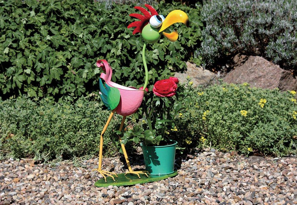 g2283 lustiger blumentopf halter vogel bunte gartenfigur. Black Bedroom Furniture Sets. Home Design Ideas