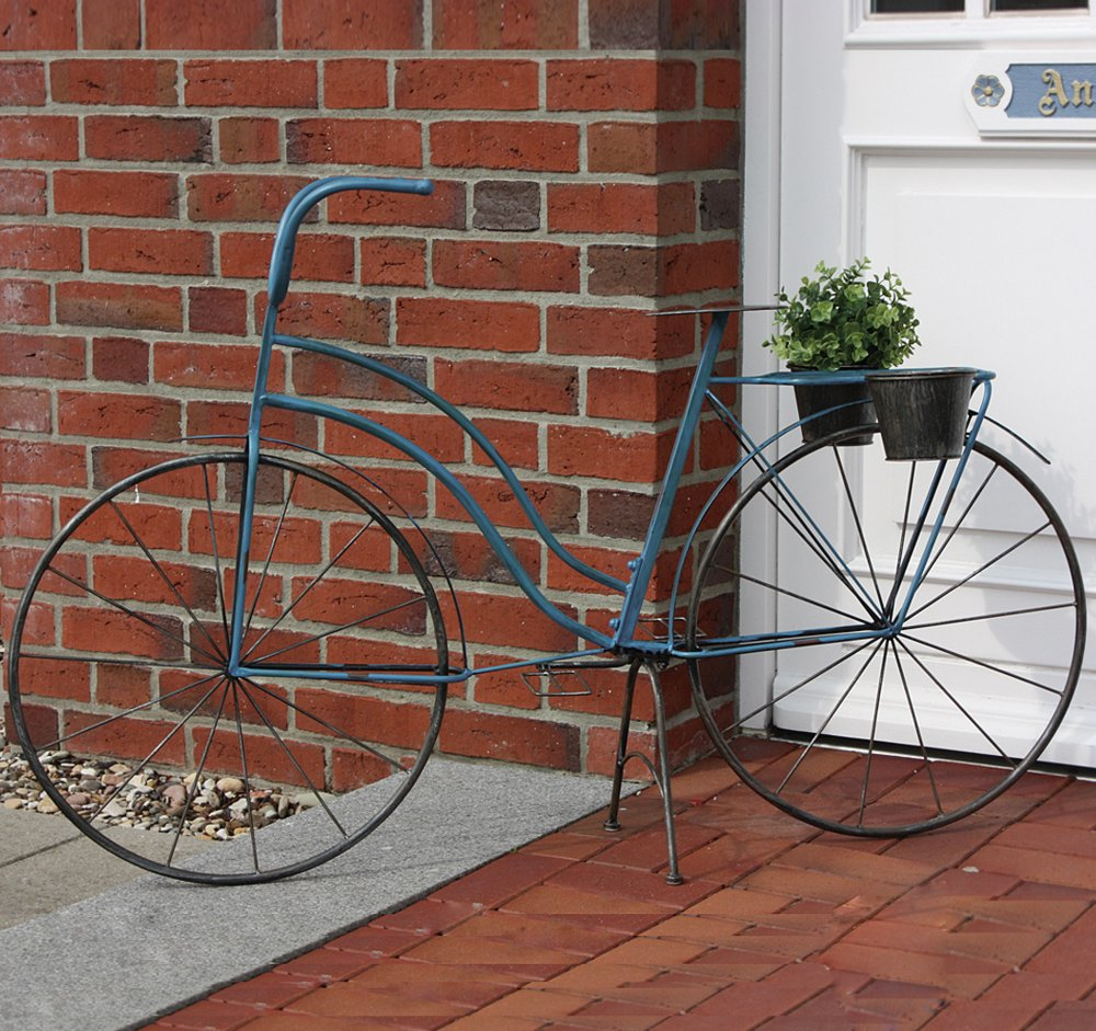 g2397 blaues nostalgie pflanzen fahrrad als damenfahrrad. Black Bedroom Furniture Sets. Home Design Ideas