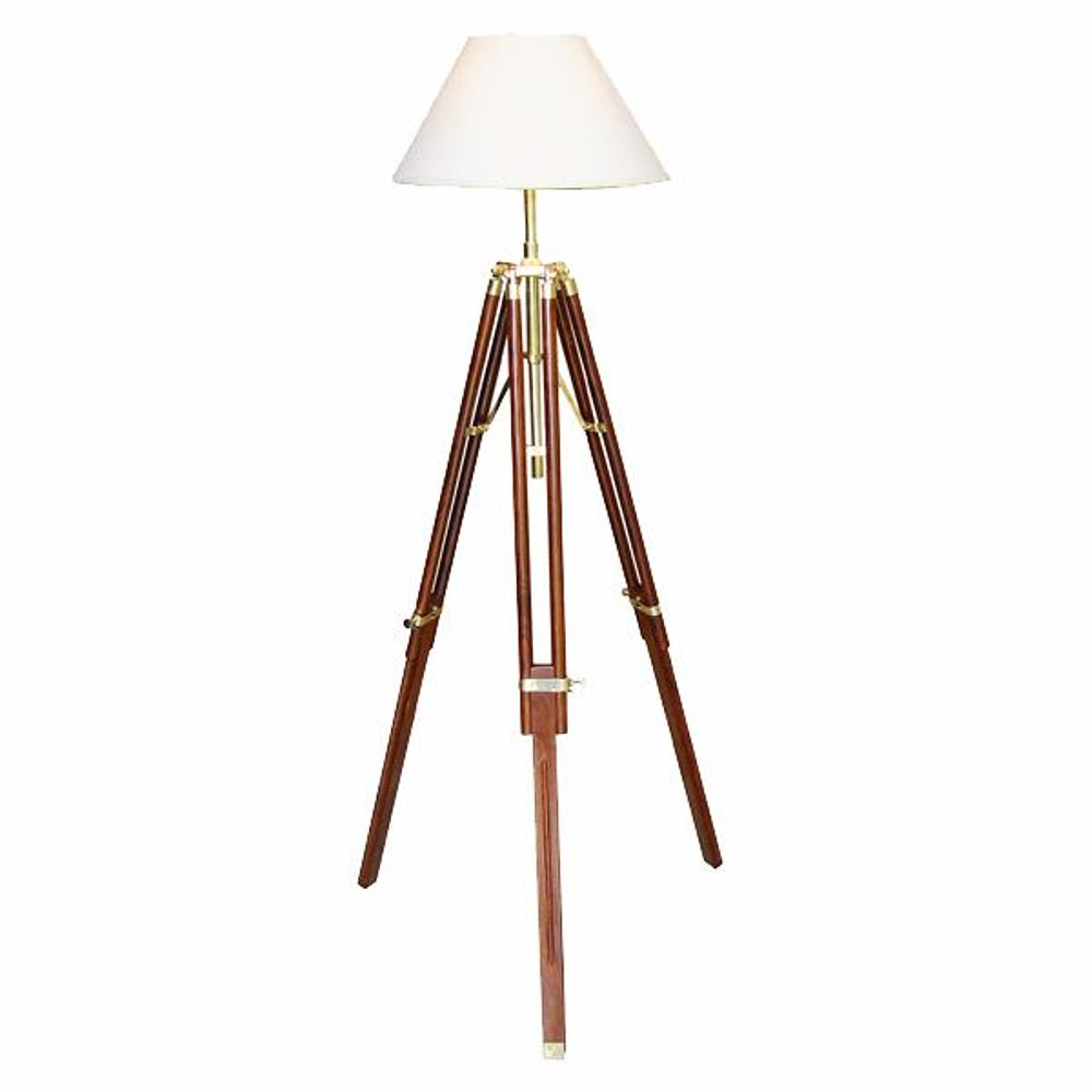 g4076 maritime tripot stehlampe stativlampe dreibein lampe stoff schirm 146 cm ebay. Black Bedroom Furniture Sets. Home Design Ideas