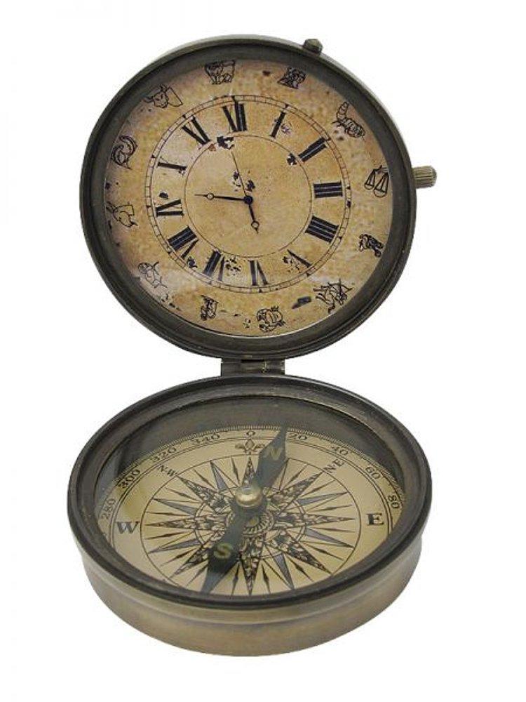 g4307 maritimer dosen kompass mit uhr multi instrumenten kompass altmessing ebay. Black Bedroom Furniture Sets. Home Design Ideas