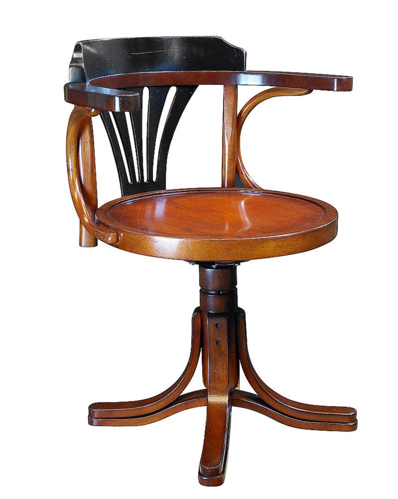 Schreibtischstuhl antik  G709: Bugholz Schreibtisch- Drehstuhl im Marine Stil, Wiener ...